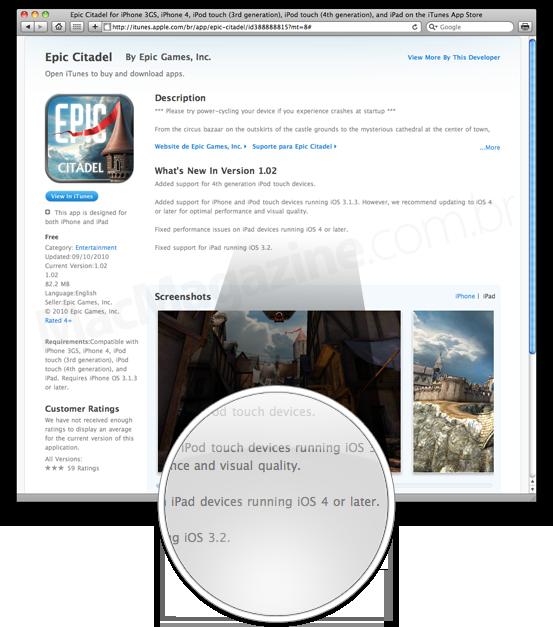 Epic Citadel e iOS 4.x para iPad