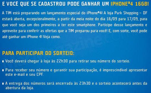 Sorteio de iPhone 4 pela TIM