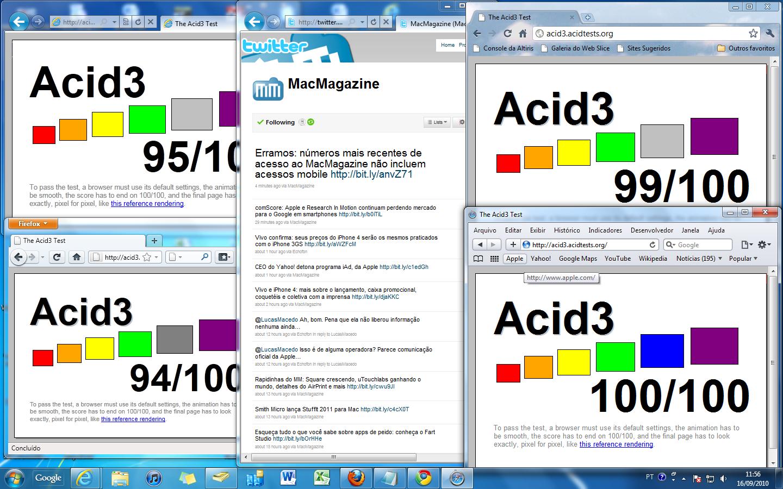 Browsers e Acid3 Test