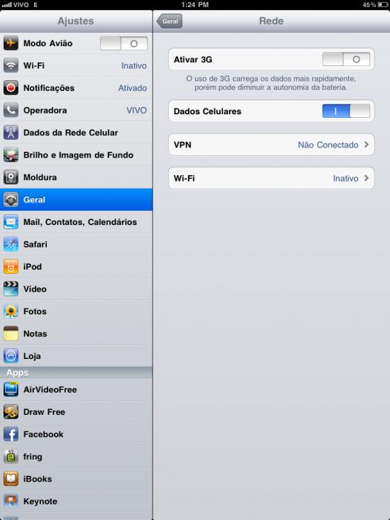 3G no iPad com iOS 4.2
