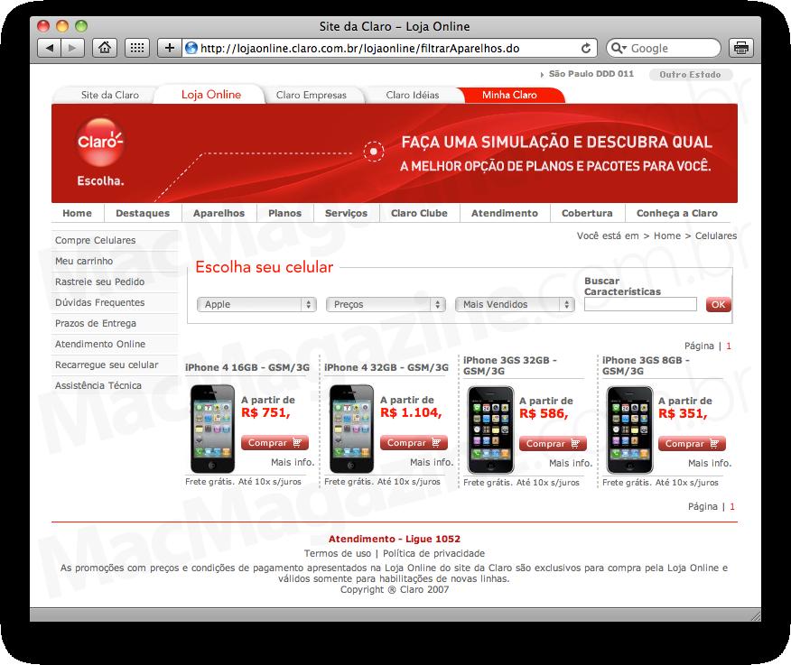 iPhone 4 na loja online da Claro