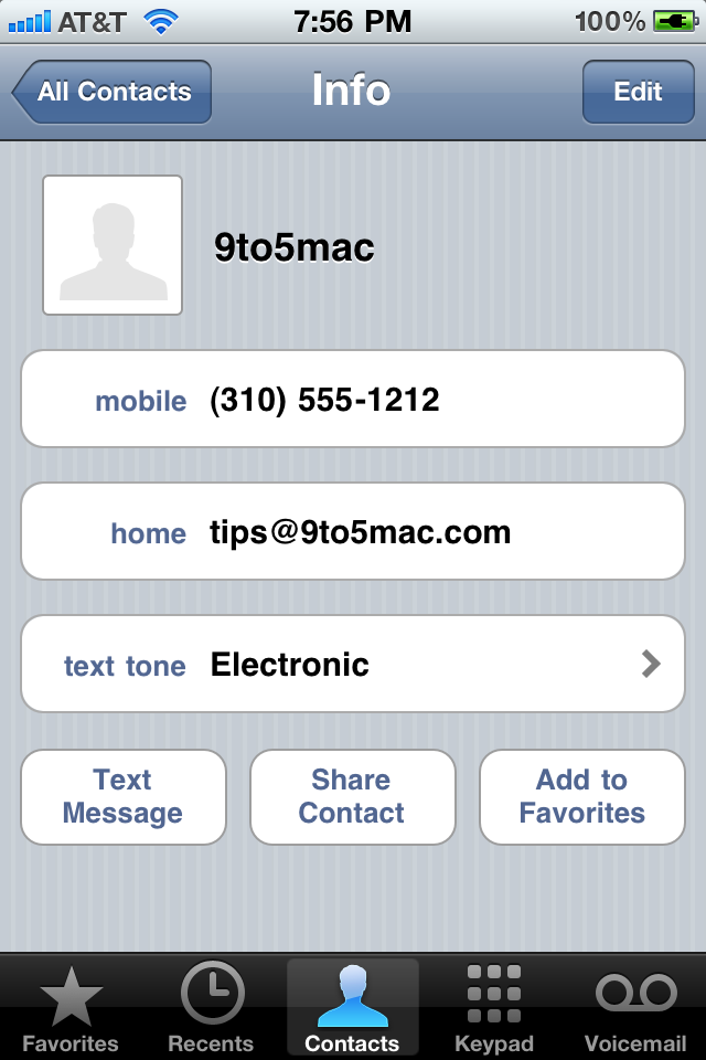 Tom de mensagens em contatos no iOS 4.2