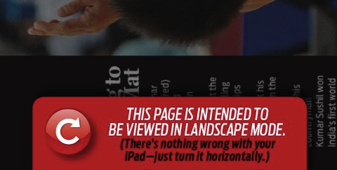 Aviso de orientação na Sports Illustrated para iPad