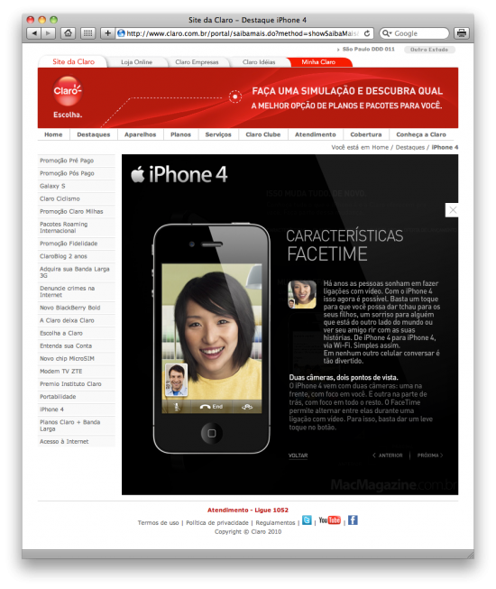 FaceTime da Claro no iPhone 4