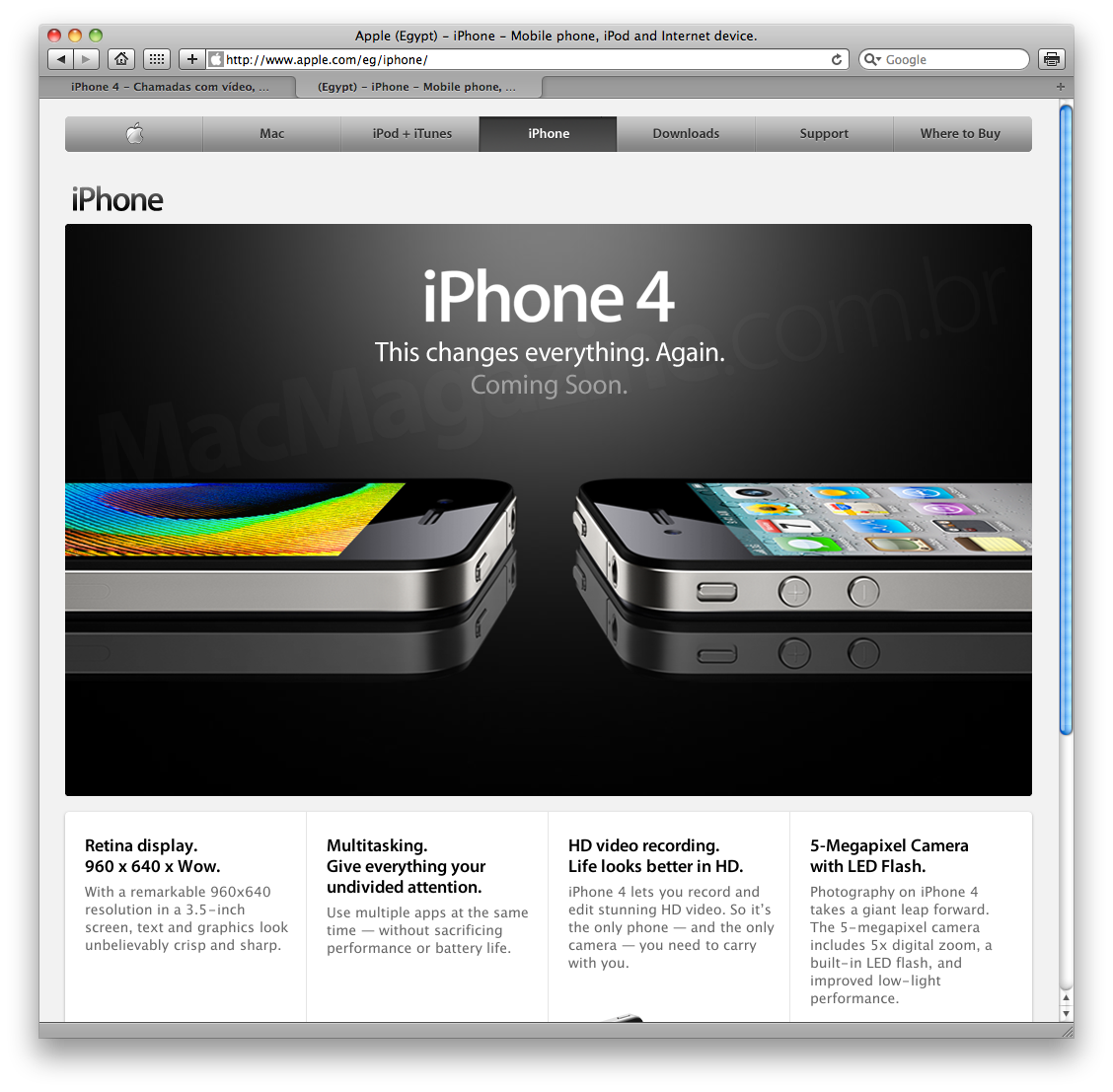Página do iPhone 4 no Egito (sem FaceTime)