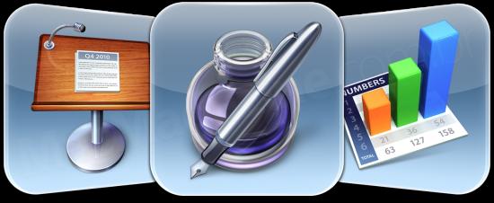 Ícones da iWork para iOS - Pages, Numbers e Keynote