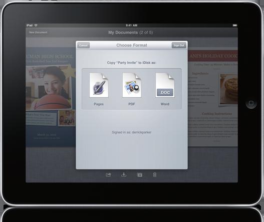 iWork para iPad integrado ao MobileMe iDisk