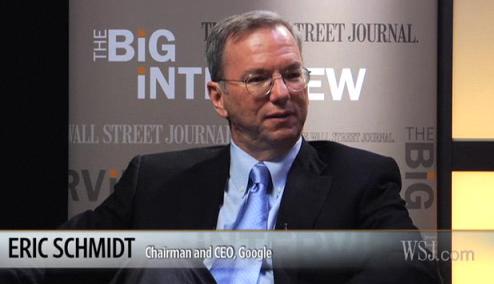 Eric Schmidt em entrevista ao WSJ