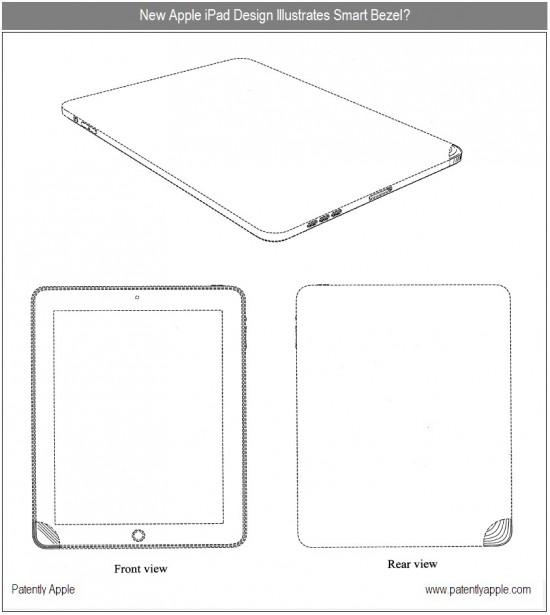 Patente de iPad com destaque para canto da moldura