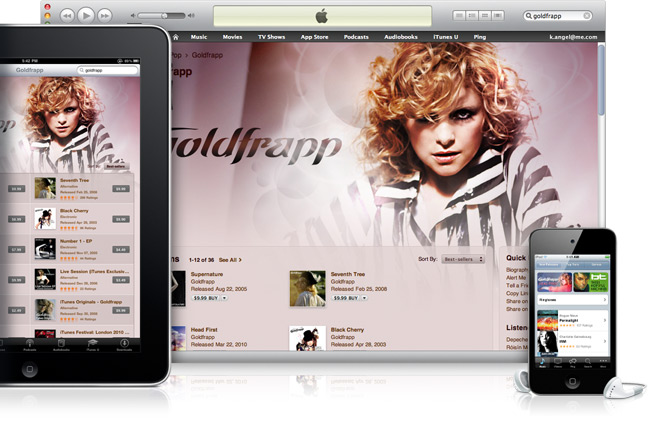 iTunes Music Store no desktop e iOS