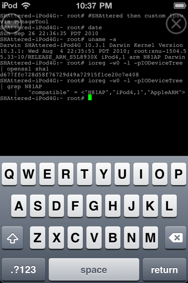 Exploit SHAtter no iPod touch