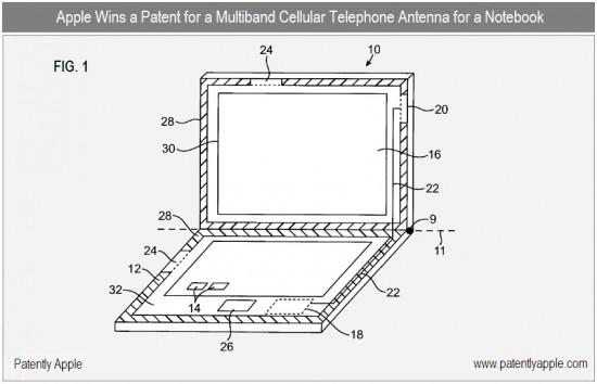Patente de antena na carcaça de um MacBook