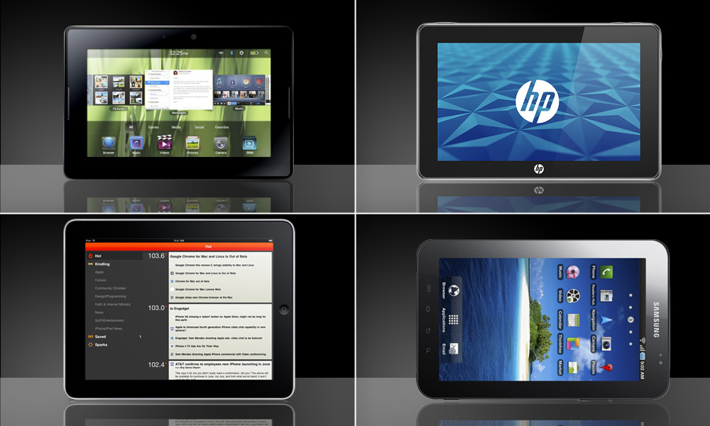 Tablets - BlackBerry PlayBook, Apple iPad, HP Slate e Samsung Galaxy Tab