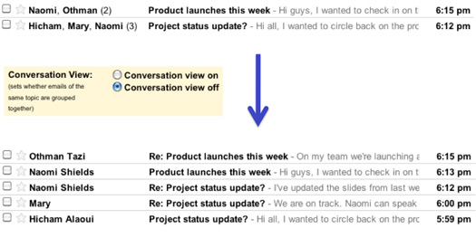 Threaded conversations in Gmail