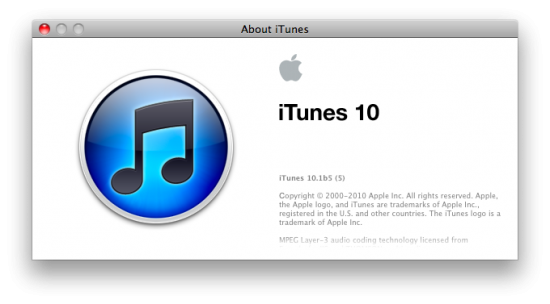 iTunes 10.1 beta