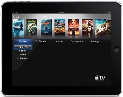 Mockup da interface do Apple TV num iPad
