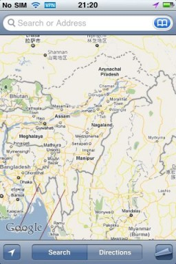 Google Maps no iPhone chinês