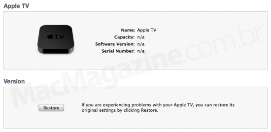 Restore do Apple TV via iTunes