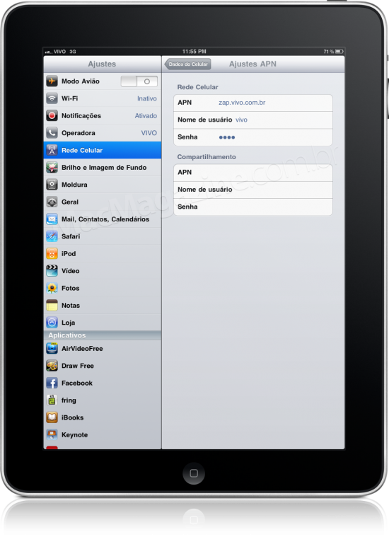 Tethering no iPad da Vivo