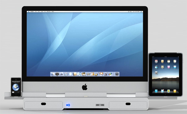 Dock de iMac com iPhone e iPad