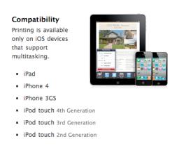 Compatibilidade do AirPrint - antigo