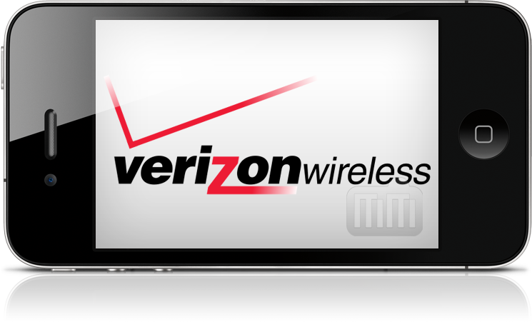 Logo da Verizon Wireless num iPhone 4