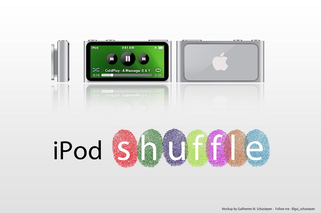 Mockup de iPod shuffle 5G, com tela