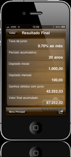 InvestCalc no iPhone