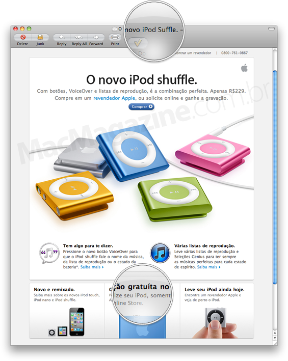 Erros na newsletter do iPod shuffle, da Apple Brasil