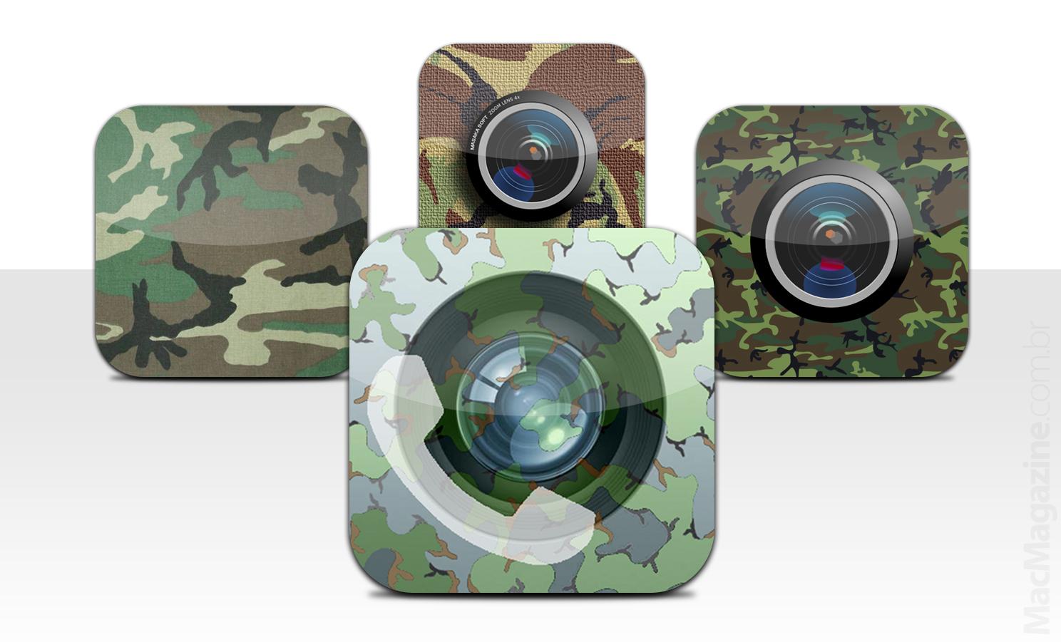 Ícones de apps de espionagem com câmera