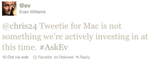 Evan Williams, sobre Tweetie for Mac