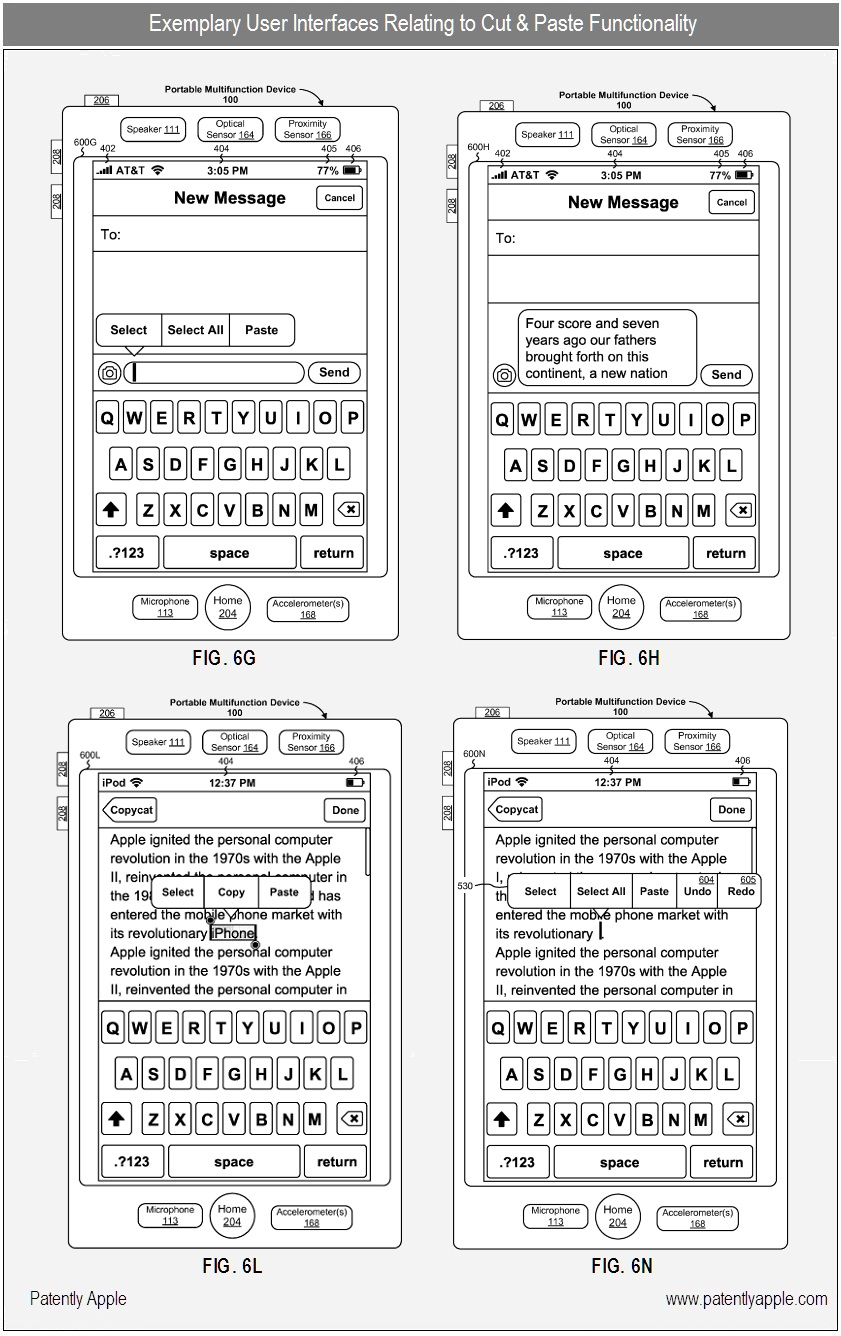 Patente do recortar, copiar e colar no iOS