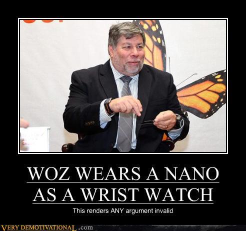 Steve Wozniak usando iPod nano como relógio de pulso