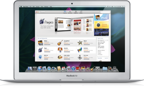 Mac App Store rodando num MacBook Air
