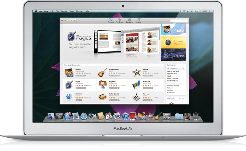 Mac App Store rodando num MacBook Air