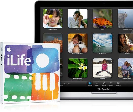 Caixa do iLife 11 ao lado de MacBook Pro
