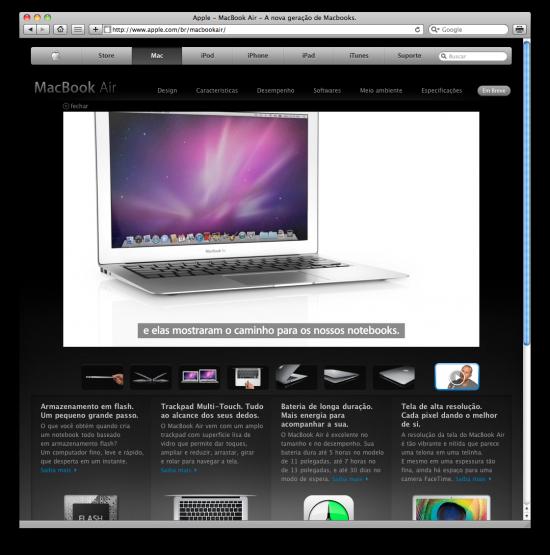 Vídeo do MacBook Air legendado