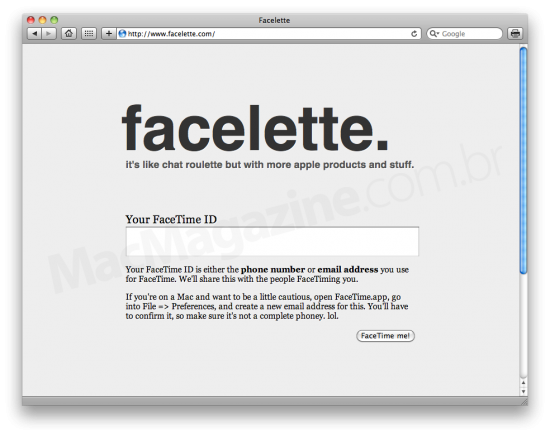 Facelette no Safari