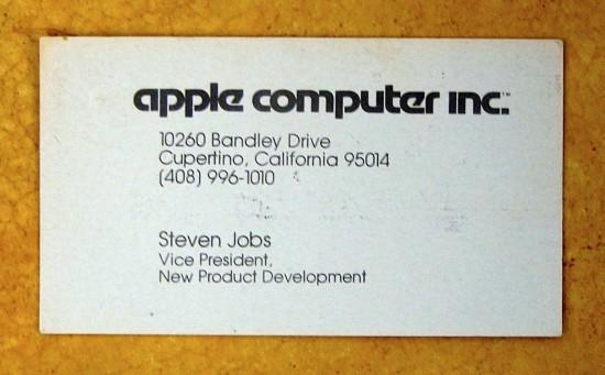 Cartão de visitas de Steve Jobs em 1979