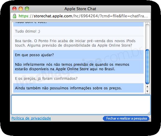 Atendimento Online na Apple Online Store Brasil