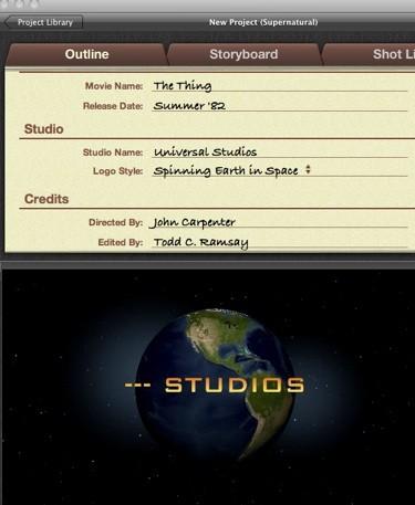 Nome de estúdios no iMovie 11
