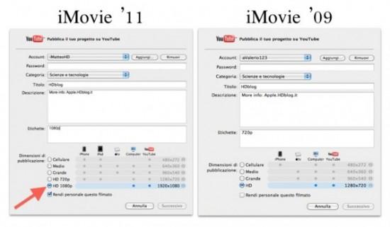 iMovie '11 exportando vídeos 1080p