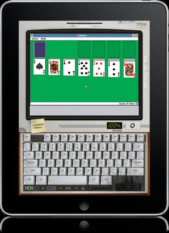 Paciência do Windows 3.0 num iPad, via iDOS