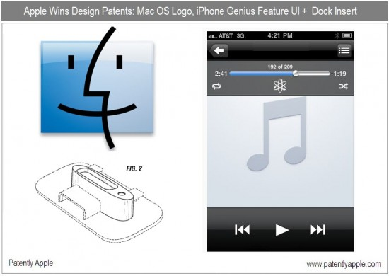Patentes de design do ícone do Finder, Genius no iOS e dock