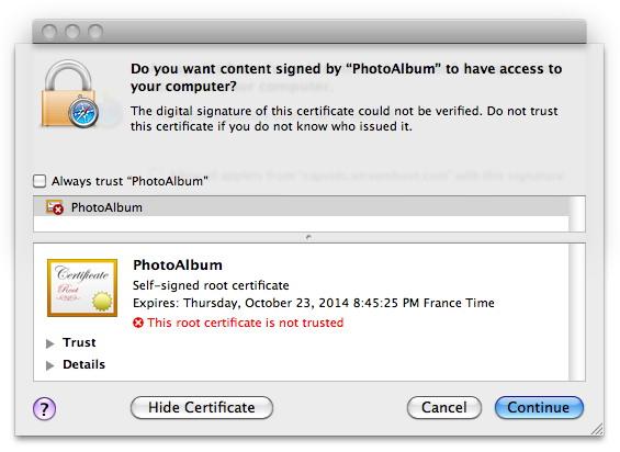 Falta de certificado do malware Koobface/Boonana