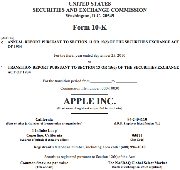 Capa de relatório 10K da Apple, 2010