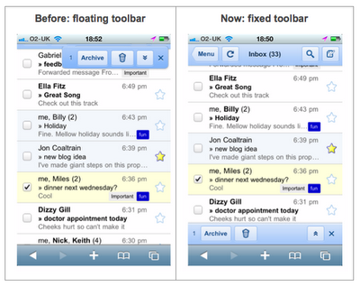 Gmail for mobile, antes e depois