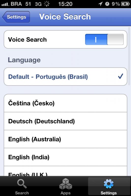 Google Mobile App com busca de voz em português
