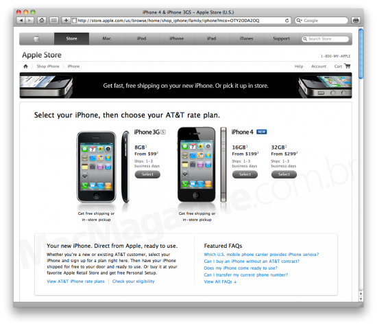 iPhone 4 na Apple Online Store