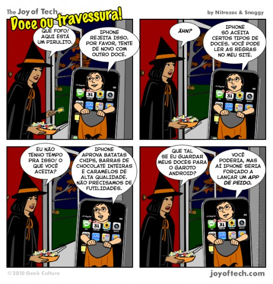 Joy of Tech - Doce ou travessura do iPhone